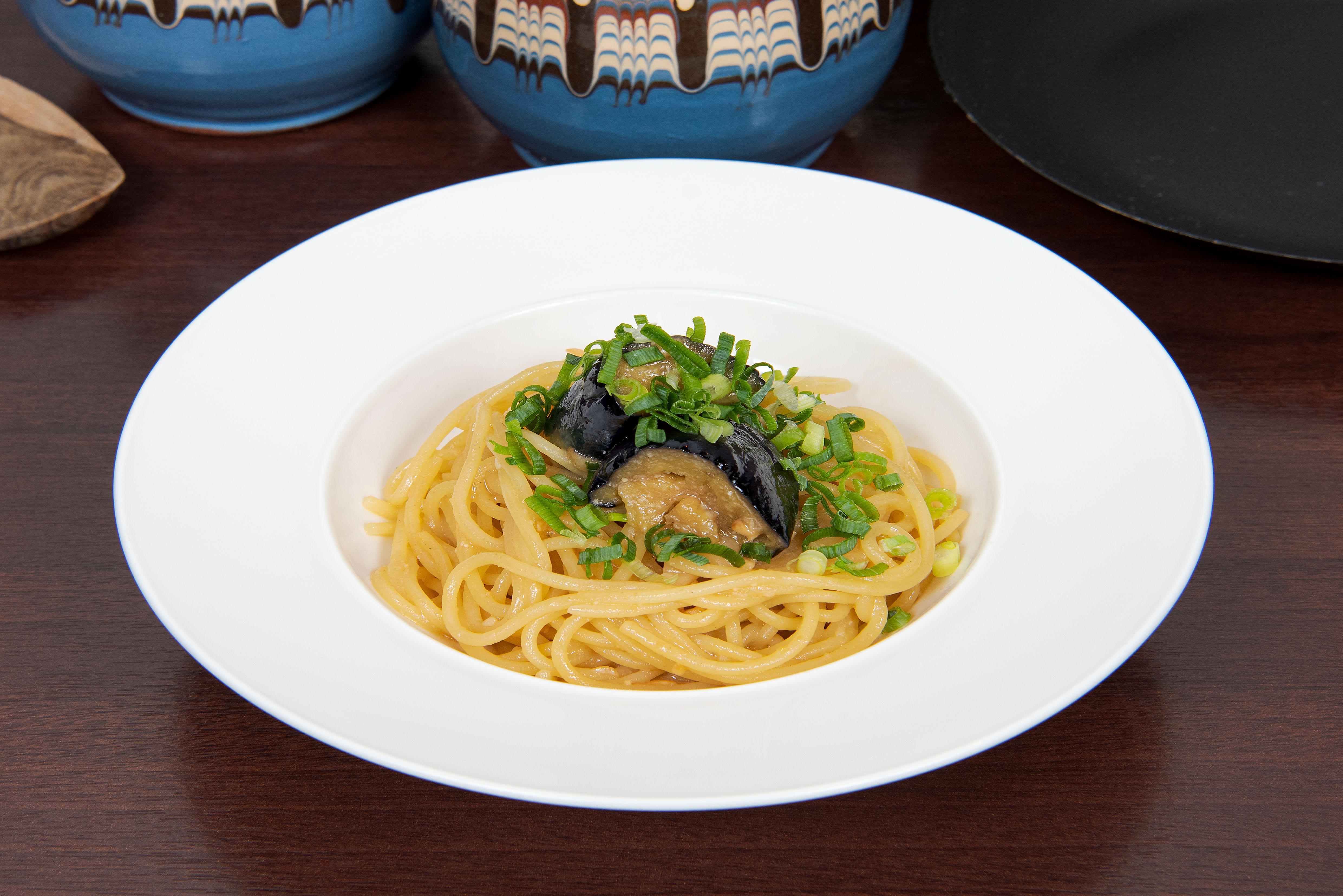茄子のネギ味噌パスタpage-visual 茄子のネギ味噌パスタビジュアル